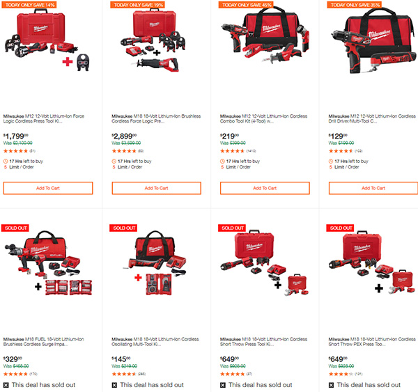 Milwaukee Cordless Power Tools Deals of the Day Home Depot 7-13-20 Page 2