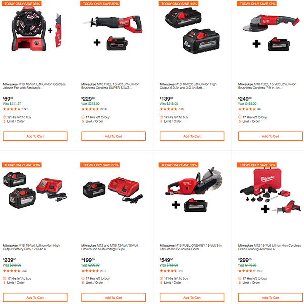 Milwaukee Cordless Power Tools Deals of the Day Home Depot 7-13-20 Page 3