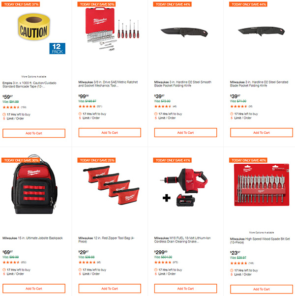 Milwaukee Cordless Power Tools Deals of the Day Home Depot 7-13-20 Page 5