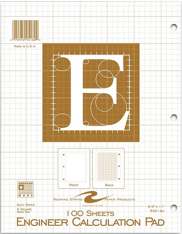 Roaring Springs Engineering Pad Buff Paper