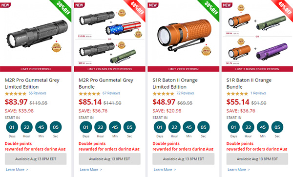 Olight EDC LED Flashlight Elite Sale Details 08-2020 Focus Items