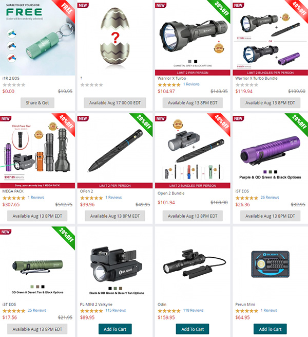 Olight EDC LED Flashlight Elite Sale Details 08-2020
