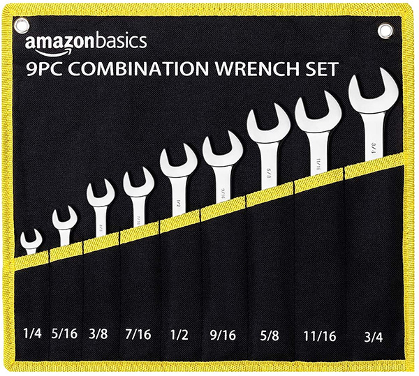 Amazon Basics Combination Wrench Set in Roll Case