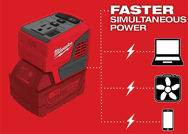 Milwaukee M18 Top-Off 2846-20 USB Power Adapter Faster Power Claims