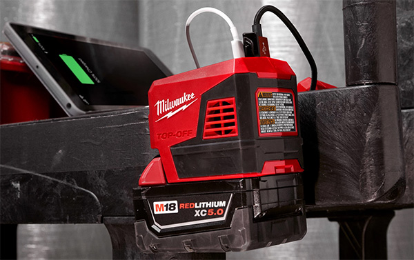 Milwaukee M18 Top-Off 2846-20 USB Power Adapter Hanging on a Tool Cart