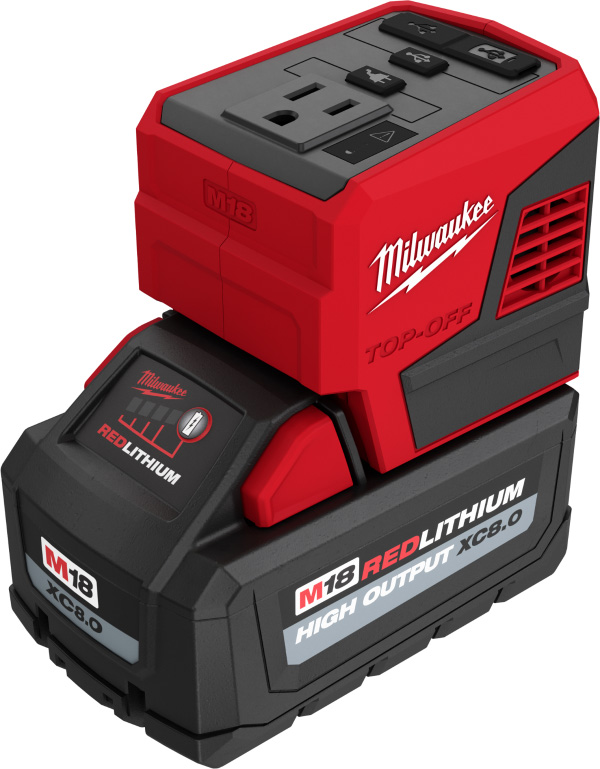 Milwaukee M18 Top-Off 2846-20 USB Power Adapter with XC 8Ah Battery