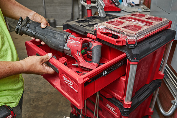 Milwaukee Packout 2-Drawer Tool Box with Sawzall Fitting Inside