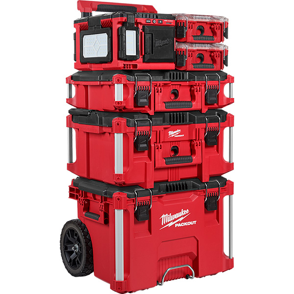 Milwaukee Packout LED Worklight Charger on Tool Box Tower