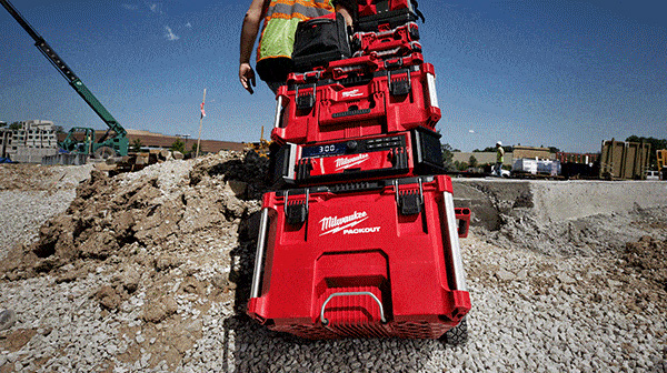 Milwaukee Packout Rolling Tool Box Stack at Jobsite