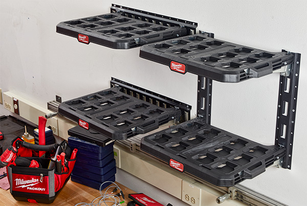 Milwaukee Packout Wall Shelves in Vertical and Horizontal Configurations