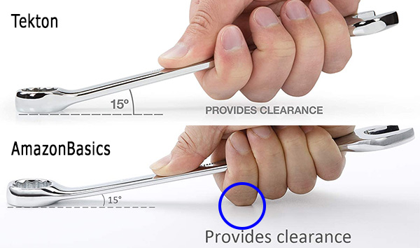 Tekton vs Amazon Combination Wrench Clearance Images Closeup