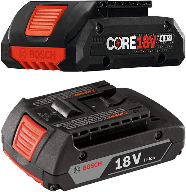 Bosch 18V CORE 4Ah Battery and SlimPack 2Ah Battery