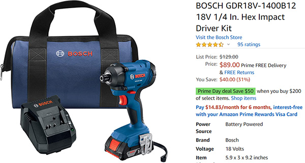 Bosch 18V Impact Driver Deal Amazon Prime Day 2020