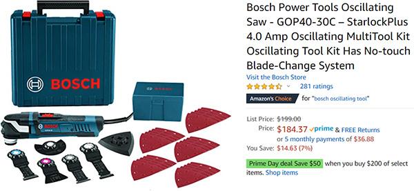 Bosch Starlock Oscillating Multi-Tool Deal Amazon Prime Day 2020