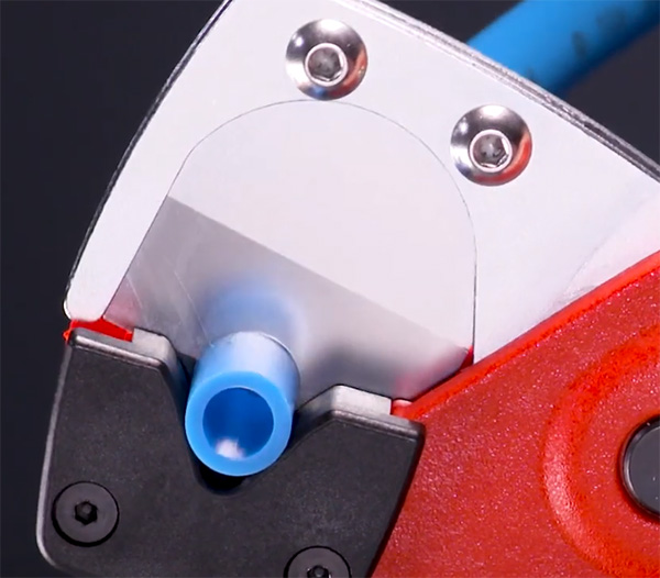 Knipex Tubing Cutters used on Soft Hose Closeup