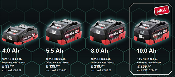 Metabo 18V Compact 10Ah Battery Comparison