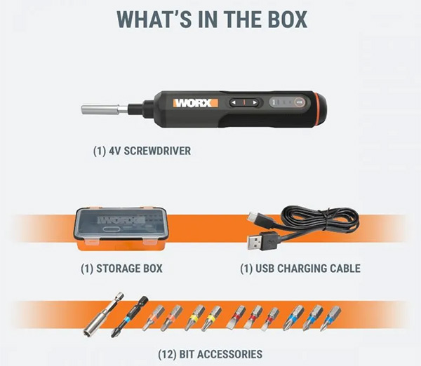 Worx 4V Cordless Screwdriver Kit Contents
