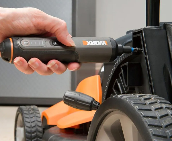 Worx 4V Cordless Screwdriver Used on Mower