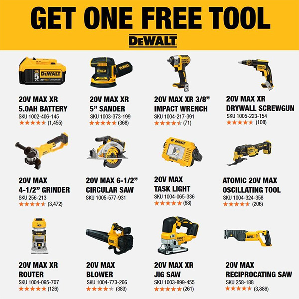 Dewalt 20V Max Black Friday 2020 Cordless Power Tool Starter Kit Free Tool Offer Home Depot