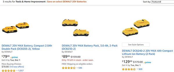 Dewalt 20V Max Cordless Power Tool Battery Deals Amazon 11-29-2020