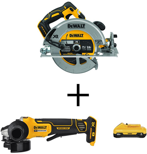 Dewalt 20V Max brushless circular saw angle grinder and compact 4Ah battery Home Depot Black Friday 2020
