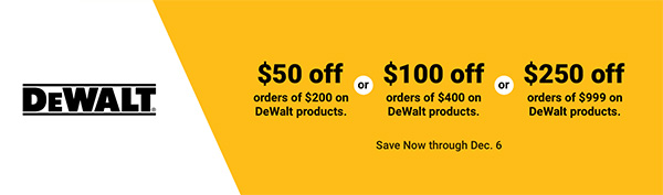 Dewalt Black Friday 2020 Coupon Promo at Zoro Tools