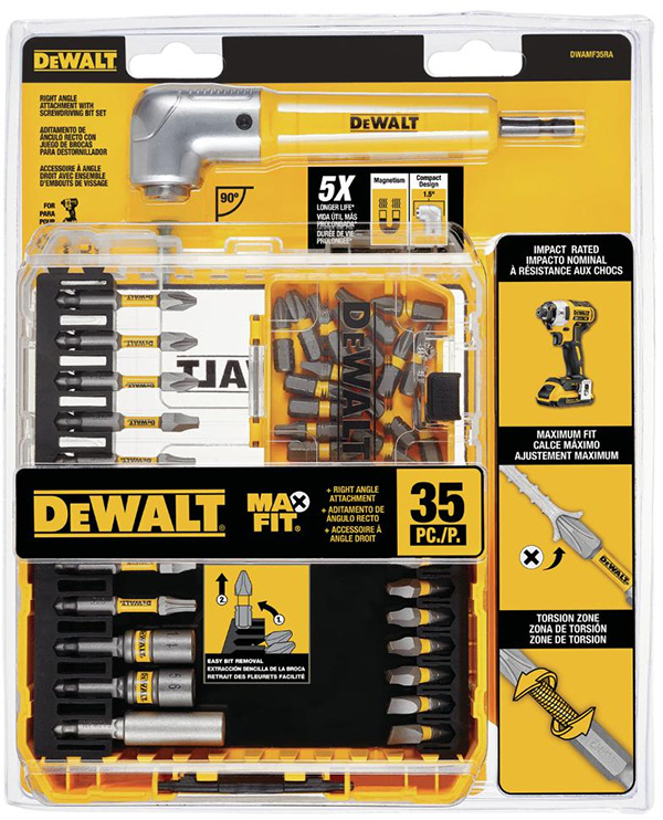 Dewalt DWAMF35RA MaxFit Screwdriver Bit Set and RA Adapter Packaging