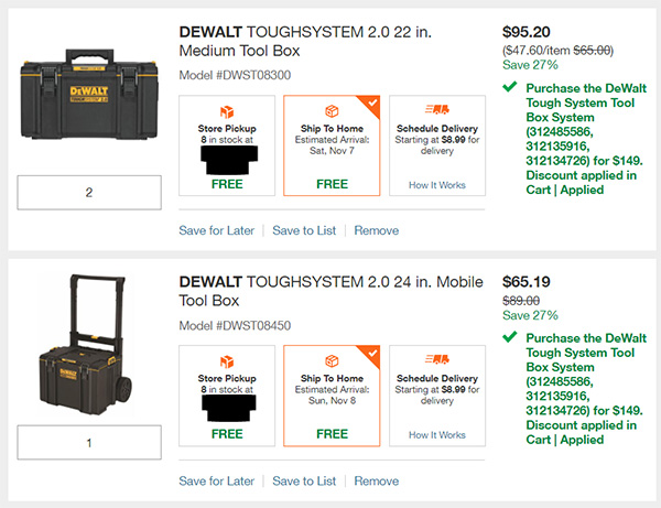 Dewalt ToughSystem 2 Bundle Deal at Home Depot