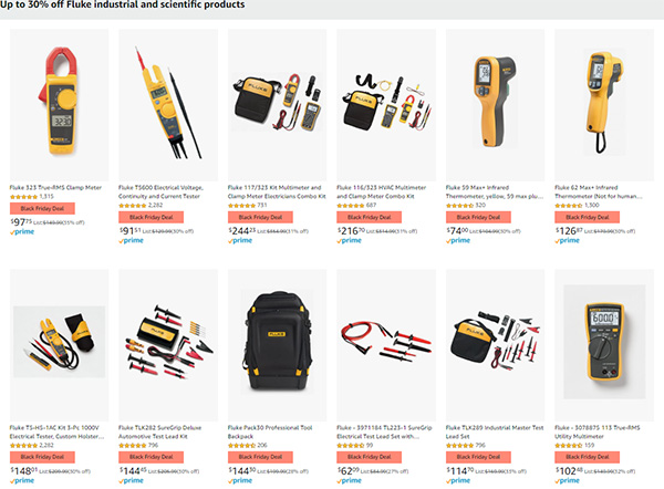 Fluke Instruments Black Friday 2020 Tool Deals at Amazon