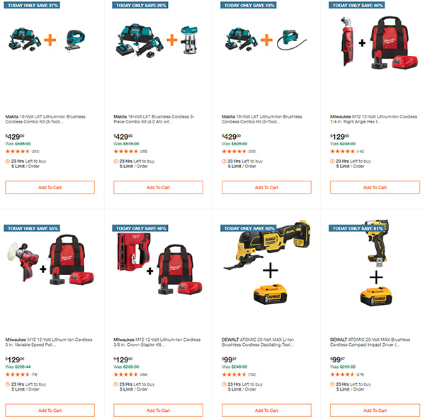 Home Depot Cyber Monday Dewalt Milwaukee Makita Tool Deals of the Day Page 5