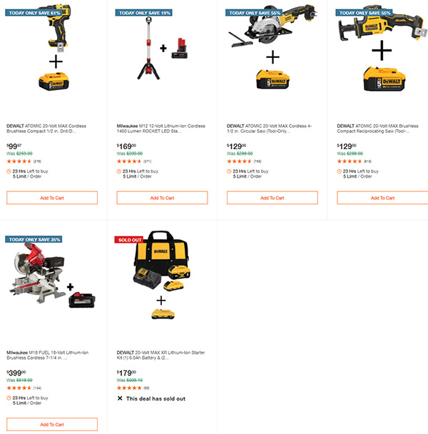 Home Depot Cyber Monday Dewalt Milwaukee Makita Tool Deals of the Day Page 6