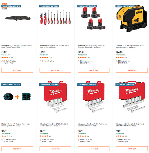 Home Depot Cyber Monday Dewalt Milwaukee Makita Tool Deals of the Day Page 7