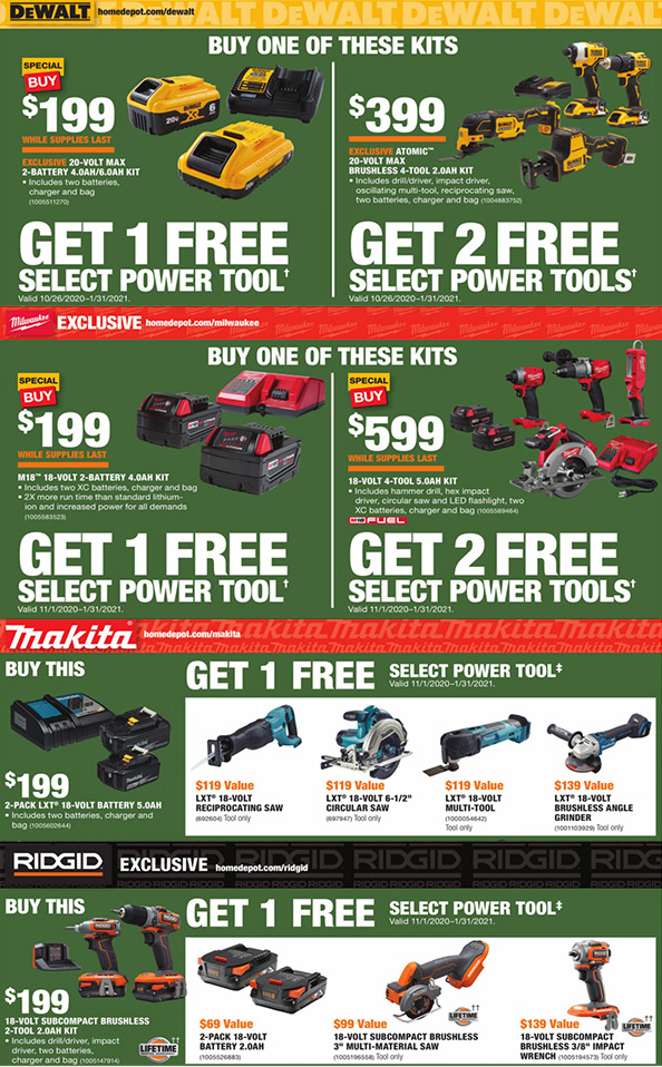 Home Depot FREE Bonus Cordless Power Tool Offer Black Friday 2020