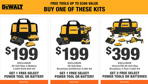 Home Depot Holiday 2020 Free Dewalt Bonus Tools Offer