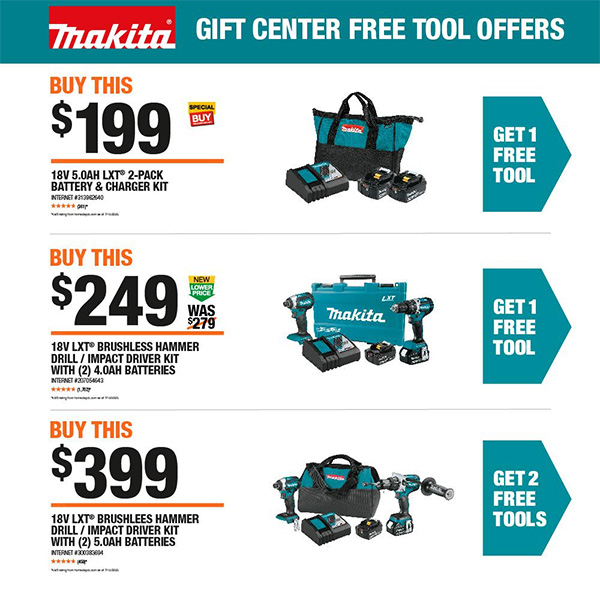 Home Depot Holiday 2020 Free Makita Bonus Tools Offer