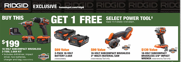 Home Depot Holiday 2020 Free Ridgid Bonus Tools Offer