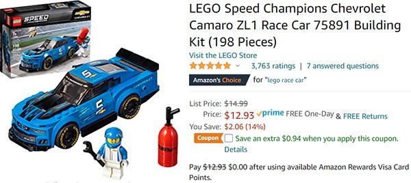 Lego Blue Camaro Buildable Set
