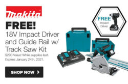 Makita Cordless Track Saw Holiday 2020 Bundle Deal
