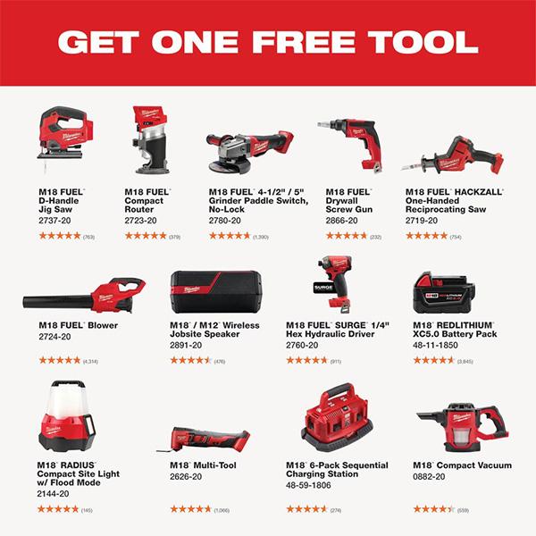 Milwaukee M18 Black Friday 2020 Cordless Power Tool Starter Kit Free Tool Offer Home Depot