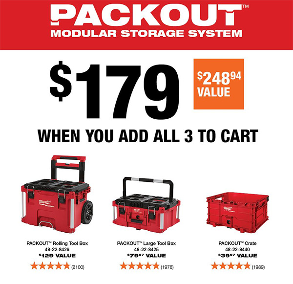 Milwaukee Packout 3pc Tool Box Combo Home Depot Black Friday 2020 Promo