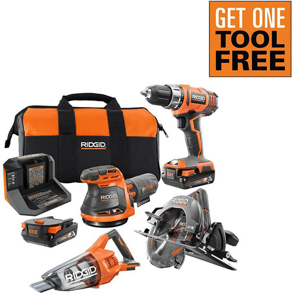 Ridgid 18V 3-Tool Cordless Power Tool Combo Kit Home Depot Free Bonus 2020