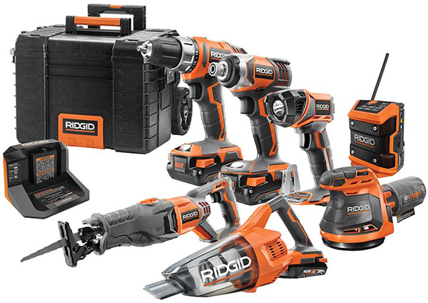 Ridgid 18V 7-Tool Cordless Power Tool Combo Kit R9257SB