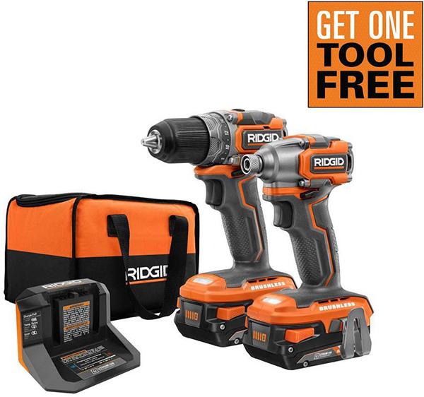 Ridgid 18V Cordless Power Tool Combo Kit Home Depot Free Bonus 2020
