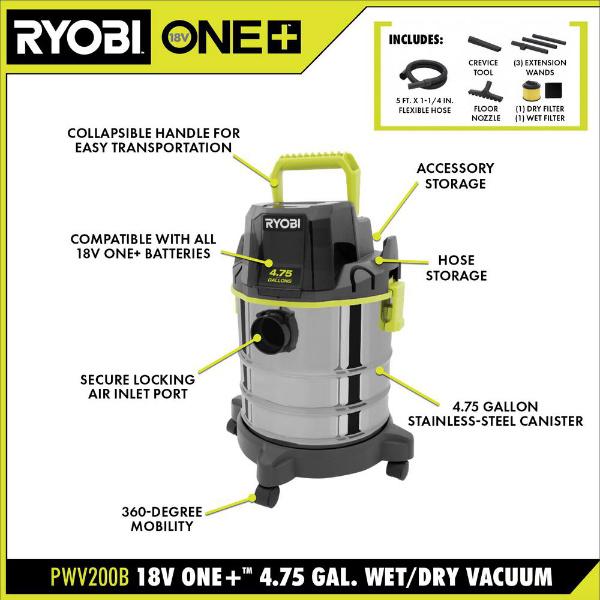 Ryobi Cordless 4_75 Gal Wet Dry Vac Features