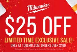 Tool Nut Milwaukee Tool 25 off 100 Coupon 11-17-2020