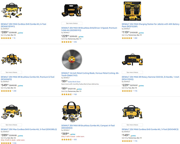 Dewalt Tool Deals at Amazon 12-10-2020